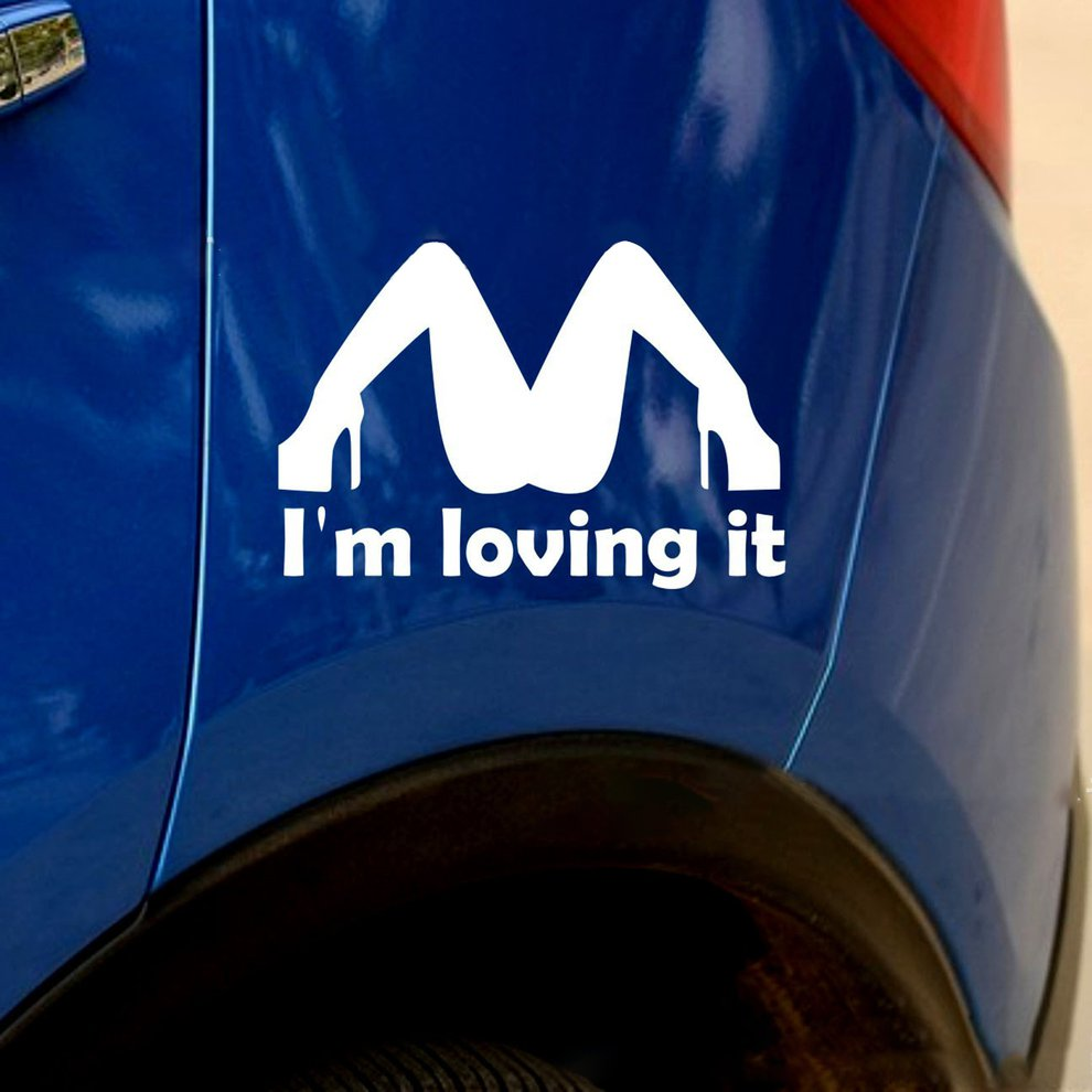 I'M LOVING IT Letter <font><b>Car</b></font> Sticker Reflective Personality <font><b>Sexy</b></font> Girl <font><b>Car</b></font> Body Sticker Vinyl Decal Anti Scratch Stickers image