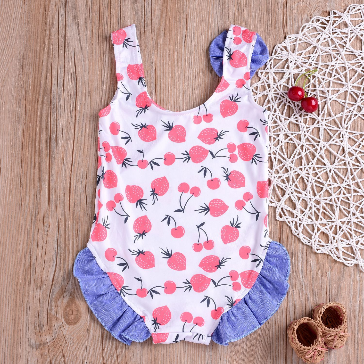2019 Children New Products Bathing Suit Summer Beach Medium-small Girls One Piece Tour Bathing Suit Korean-style Strawberry Prin