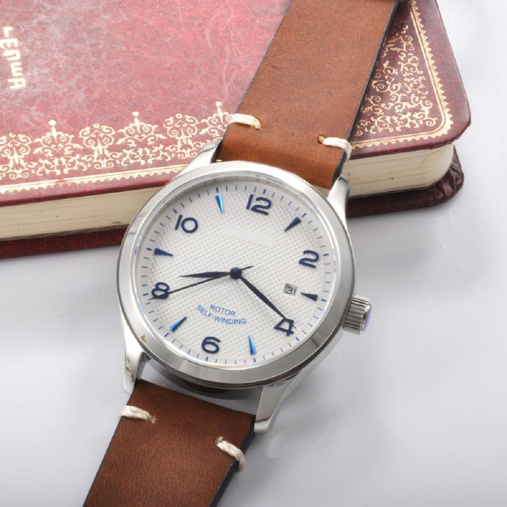 Corgeut 42mm Mechanische uhr luxus top marke leder Sapphire kristall kalender männlichen sport Automatische männer armbanduhr-in Mechanische Uhren aus Uhren bei  Gruppe 1