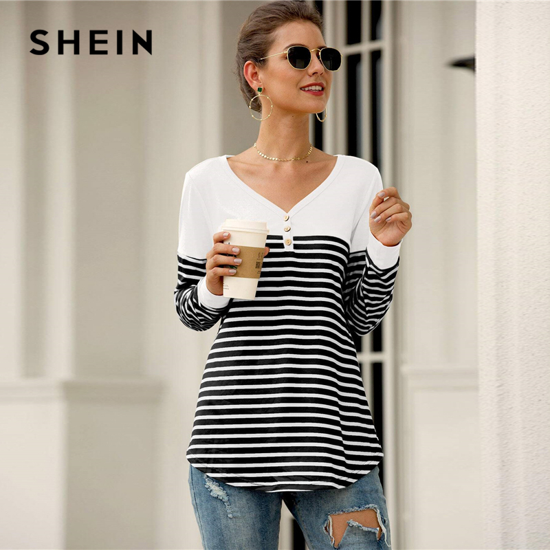 SHEIN Black and White Striped Button Front Curved Hem Tee Women Spring Half Placket V-neck Long Sleeve Casual T-shirts 2