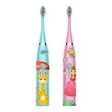 Профессиональная Детская звуковая электрическая зубная щетка, качественная детская зубная щетка, 2 чистящие головки, ультра звуковая мультяшная, делает детей похожими
