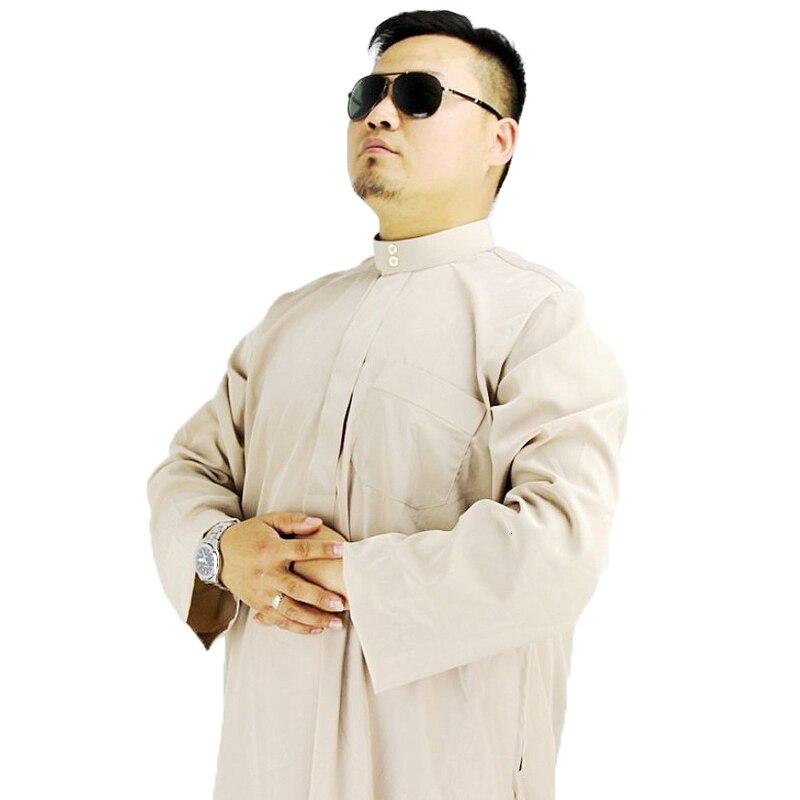 Men Saudi Arabic Muslim Kaftan Dress Thobe Abaya Long Sleeve Robe Pakistan Arab Oman Outfits Qamis Homme Jubba Islamic Clothing