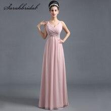 Элегантные платья невесты румяна шифон длинные женщины высокой талией плиссированные линии рукавов свадебное вечеринку Пром платье Vestido SD293