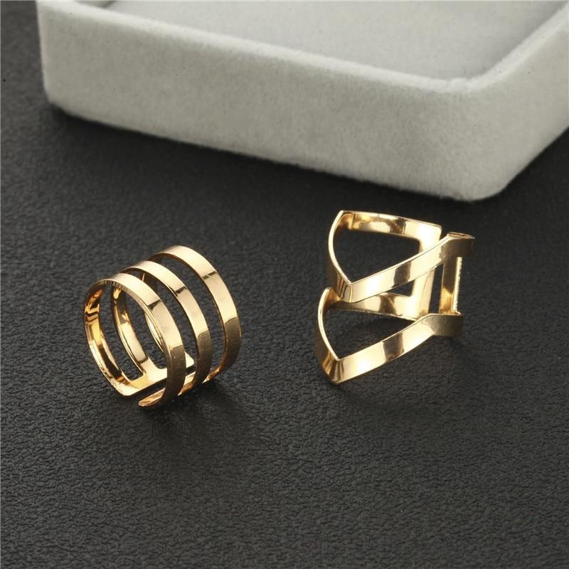 5Pcs/Set Gold Colour Rings Set For Women Geometric Irregular Ring Set Lady Charm Midi Rings Female Fashion Jewelry Wedding Gifts 4
