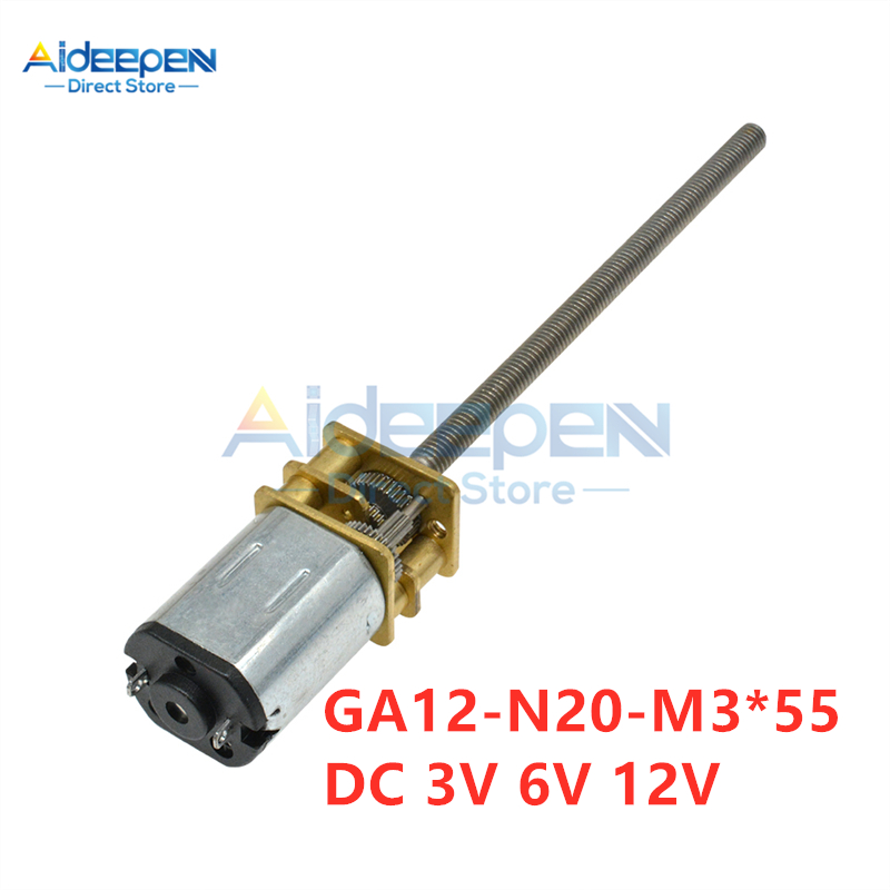 GA12-N20-M3*55 <font><b>DC</b></font> <font><b>Geared</b></font> <font><b>Motor</b></font> 3V <font><b>6V</b></font> 12V 15/30/60/100/150/200/300/500/600/1000RPM M3 Long Screw Low Speed High Torque For Toy image