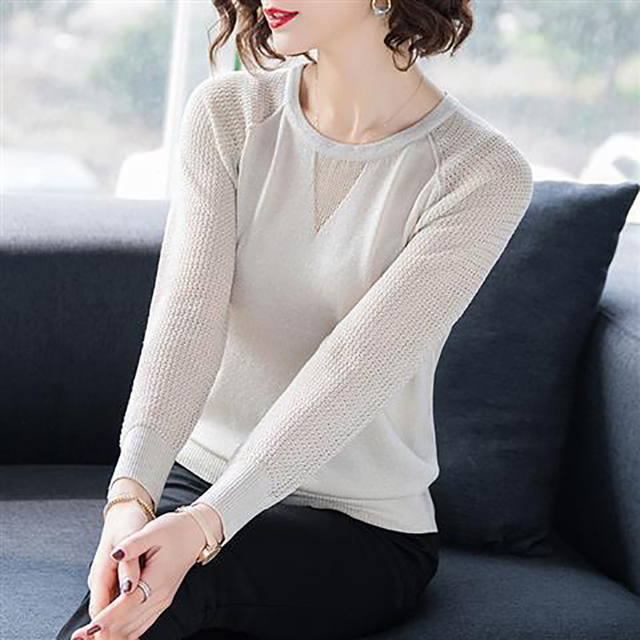 Women Spring Autumn Style Knitted Blouses Shirts Lady Casua Long Lace Sleeve O-Neck Knitted Blusas Tops DD8858 2