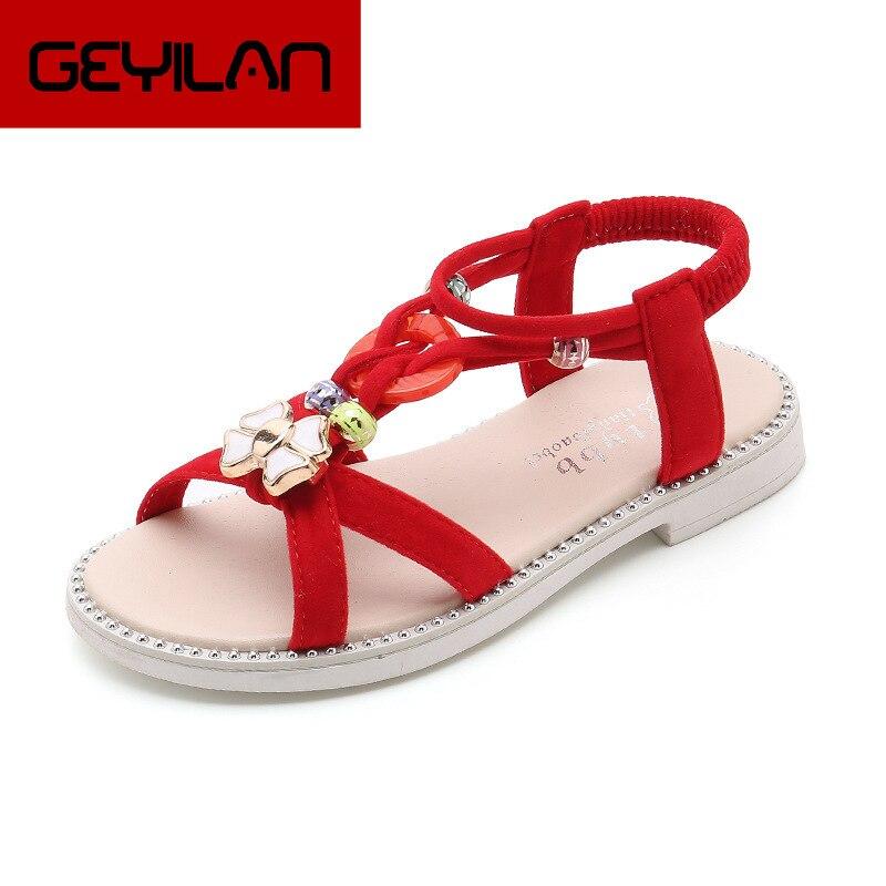Kseniya Kids Summer Sandals For Children Girls Shoes Soft Breathable Princess Shoes Fashion Beading Student Beach Sandal