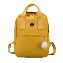 Korean Fashion Canvas Backpack Bag Animal Embroidery For Teenager Teens Girl School Student Outdoor Travel Leisure Women Bags augur 2018 new arrive female canvas women travel backpack high school students of teens girl for lunch box bag pencil