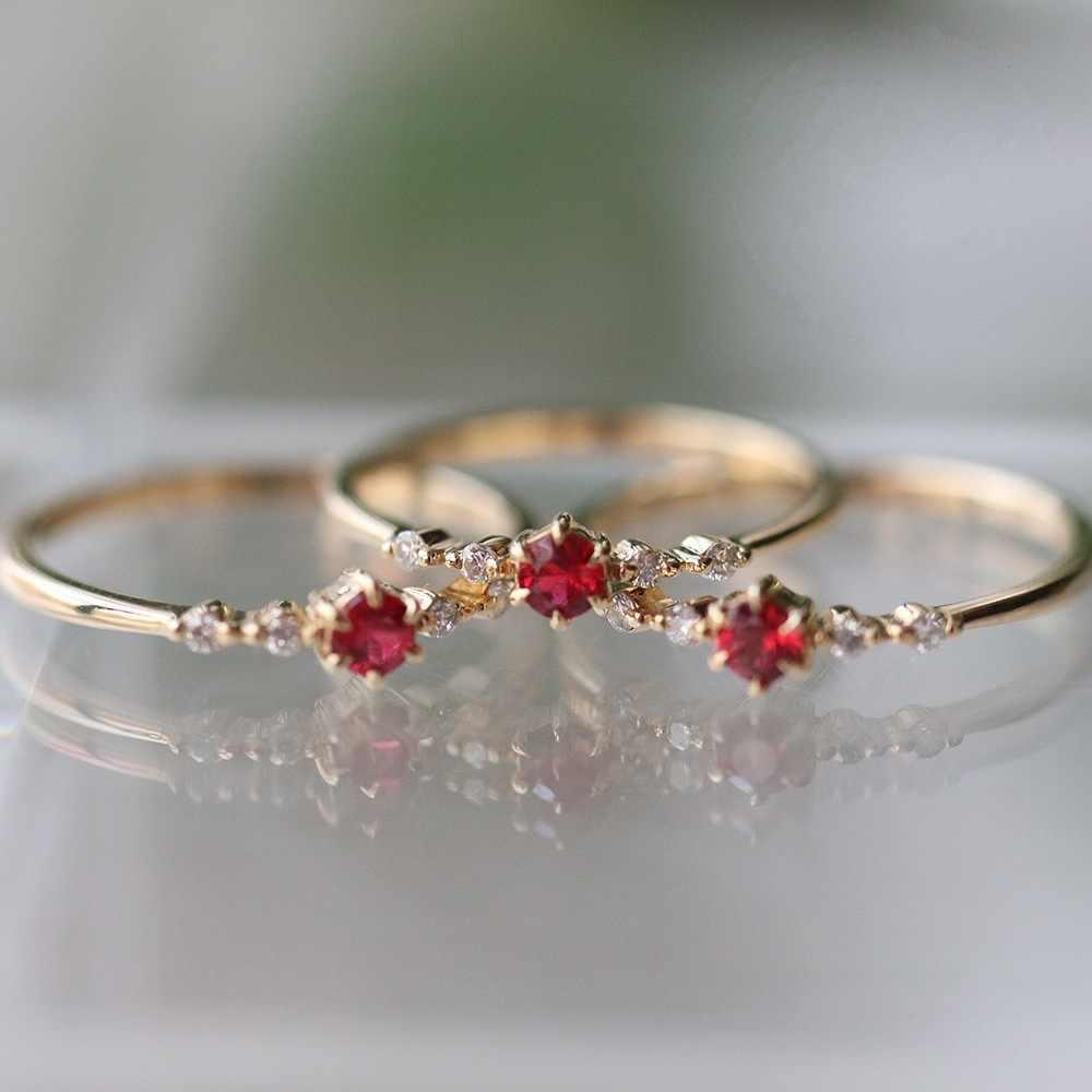 Simple โกเมน zircon Charm แหวนผู้หญิงอารมณ์สง่างาม lady พิเศษเจ้าหญิงแหวน party/เครื่องประดับของขวัญแฟชั่น