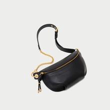 Genuine Leather Fanny Bag Banana Waist Bag Chain New Brand Handbag for belt Women Waist Pack Chest bag Phone Pouch Belly bag