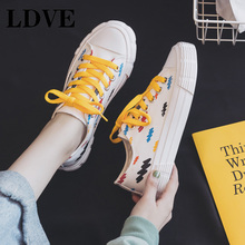 Canvas Shoes Women Girls Casual Sneakers Orange Lace Preppy Style Colorful Fashion Vulcanized Shoe Flat Heel Yellow 35-40