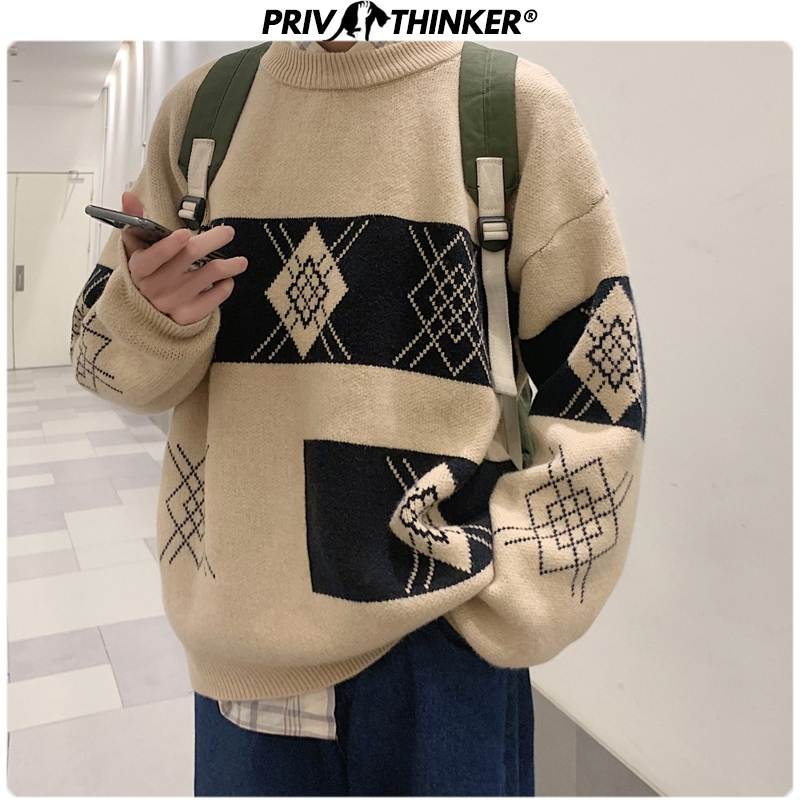 Privathinker Men Printed Fashion Loose Pullovers Sweater Mens O-Neck Autumn Winter Knitted Clothes Male 2019 Korean Sweaters