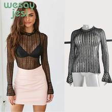 women's Sexy Lace Black Blouse Women 2019 Transparent Long Sleeves Black Red Blouse shirt Elegant Lace WOMEN Tops black lace details long sleeves knitwear