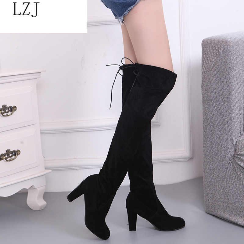 Sahte süet ince çizmeler üzerinde seksi diz yüksek kadın kar botları kadın moda kış uyluk yüksek çizmeler ayakkabı kadın 2020 yeni