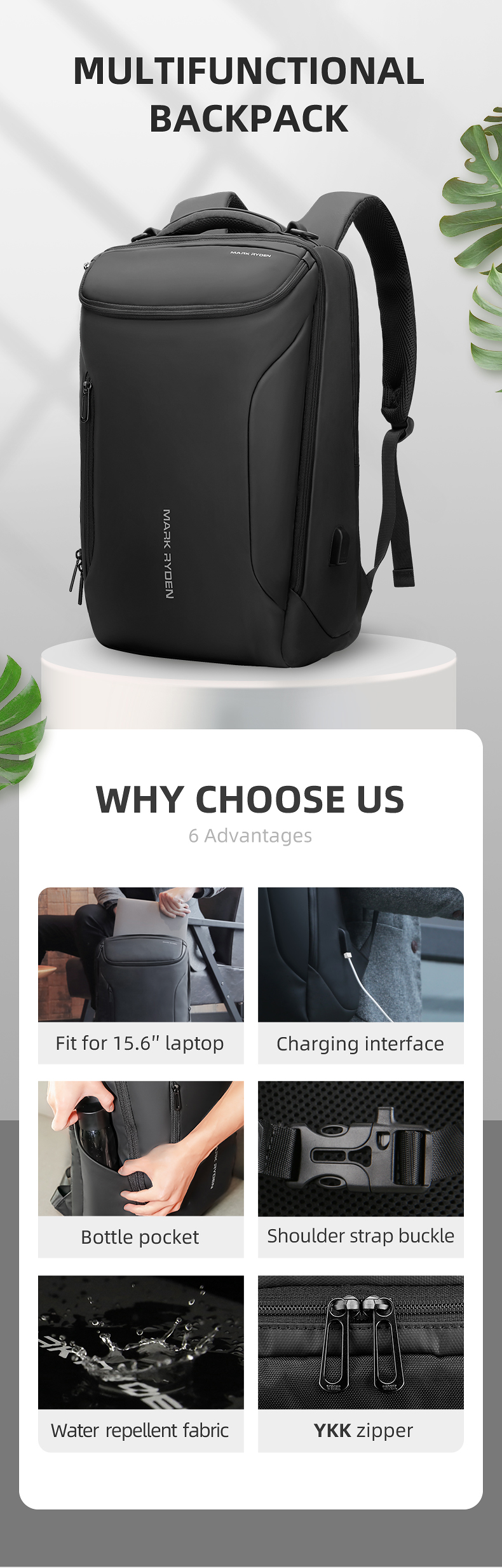 Hdcff5a2a665a4b6786fd4104f10151c53 - Mark Ryden New Anti-thief Fashion Men Backpack Multifunctional Waterproof 15.6 inch Laptop Bag Man USB Charging Travel Bag