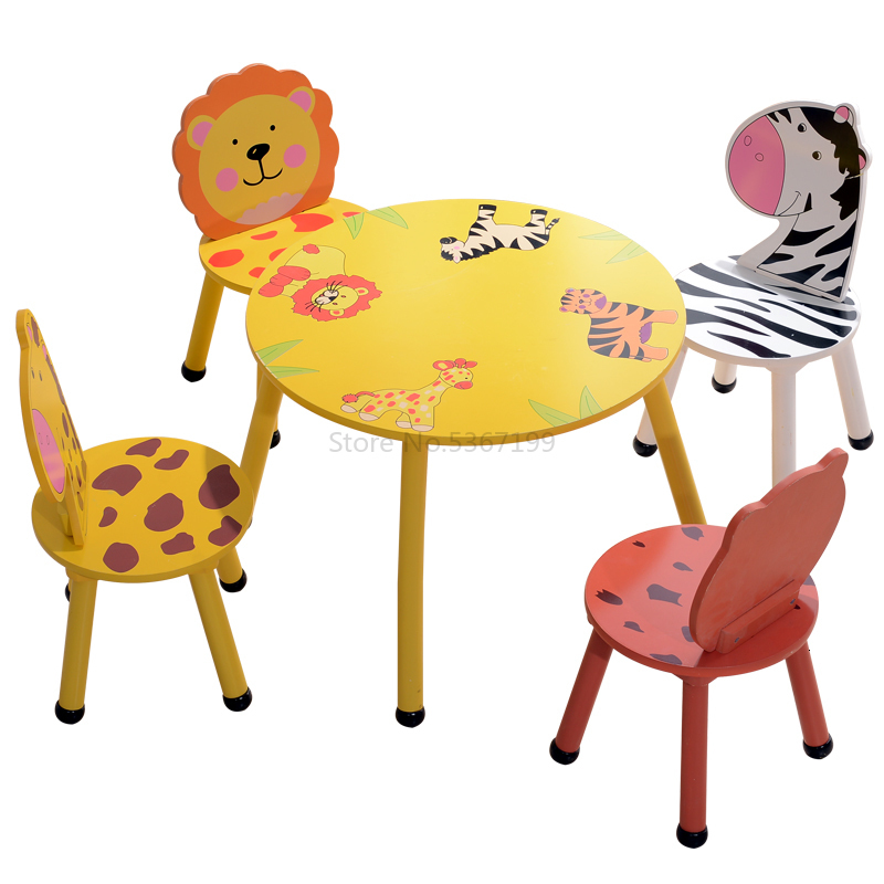Learn To Draw Tables And Chairs Children's Toy Tables Baby Table Chair Game Table Protection UV Paint Solid Solid Wood