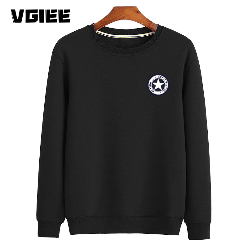 Loose Large Size Men's Long-sleeved Sweater Multi-cotton Round Neck Printing Trendy Upper Clothes Spring And Autumn New VG2142