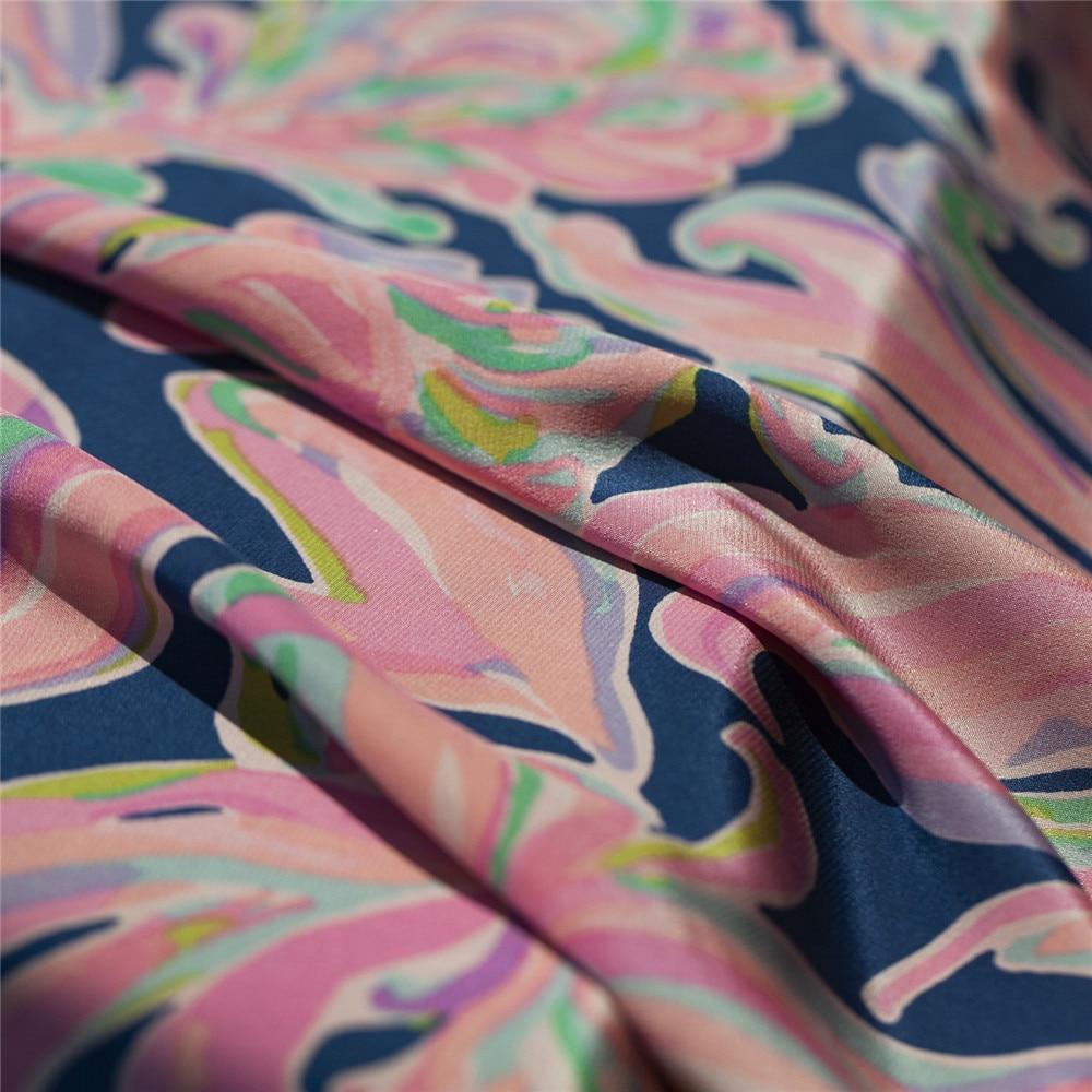 Peinture abstraite rose et marine grand floral lourd soie pure crêpe de chine tissu, couture pour robe, jupe, blouse, artisanat par la cour