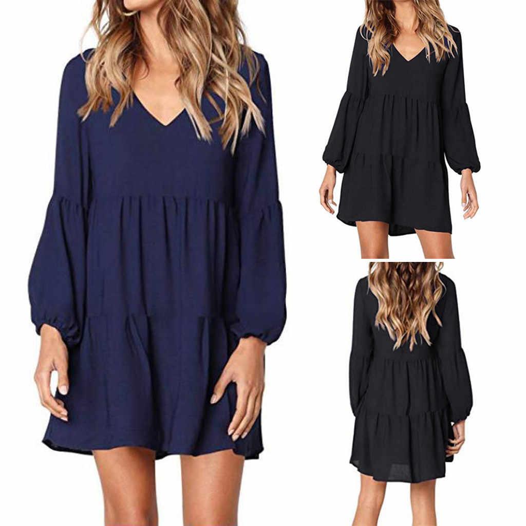 Fashion Women Mini Dress Lantern Long Sleeve V Neck Draped Shift Dress Casual Loose Solid Color Summer Dress Vestido De Mujer