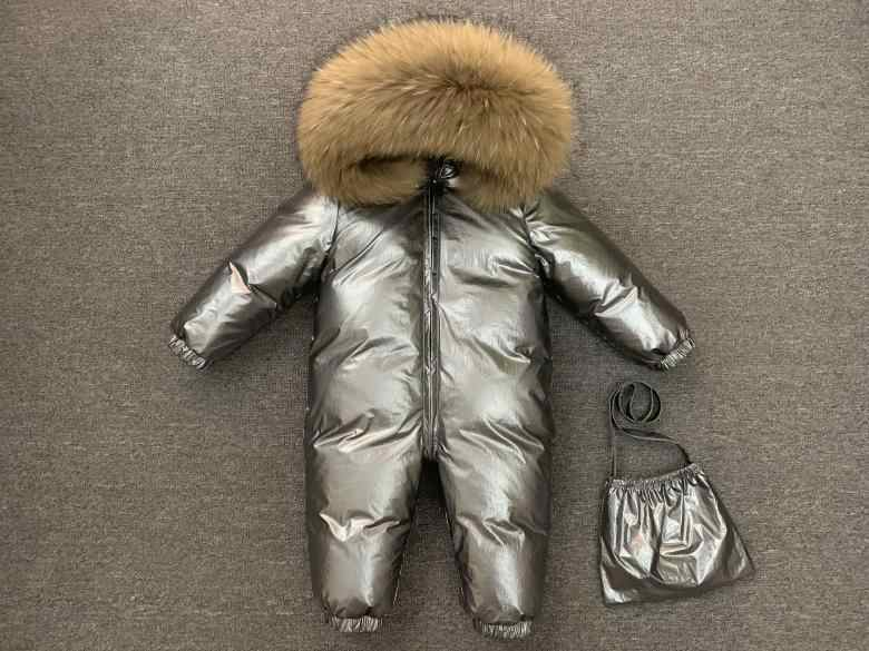 2019 New Jumpsuit Children Winter Big Fox Fur Hood Warm Overalls For Baby Boys Windproof Girls Onesie Duck Down Kids Clothes