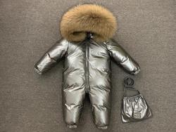2019 New Jumpsuit Children Winter Big Fox Fur Hood Warm Overalls For Baby Boys Windproof Girls Onesie Duck Down Kids Clothes
