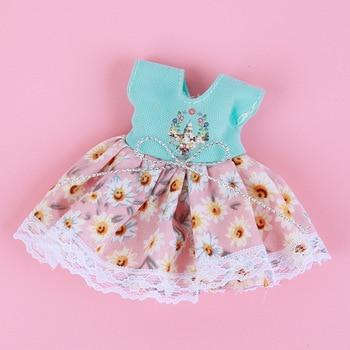 1/8 BJD Dolls Clothes Set 16-18 CM BJD Dolls Lace Flower Dress Sweater 6 Inch BJD Dolls Tops With Skirt For Girls Dolls Clothes - Green Juhua