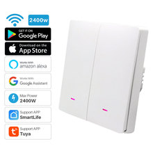 2Gang Smart WiFi Light Switch Push Button Tuya APP Remote Control Smart Home Automation Works With Alexa Google Assistant