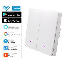 Interruptor de luz inteligente sem fio 2gang, interruptor wifi com botão para controle remoto tuya, app, automação inteligente para casa com assistente alexa e google