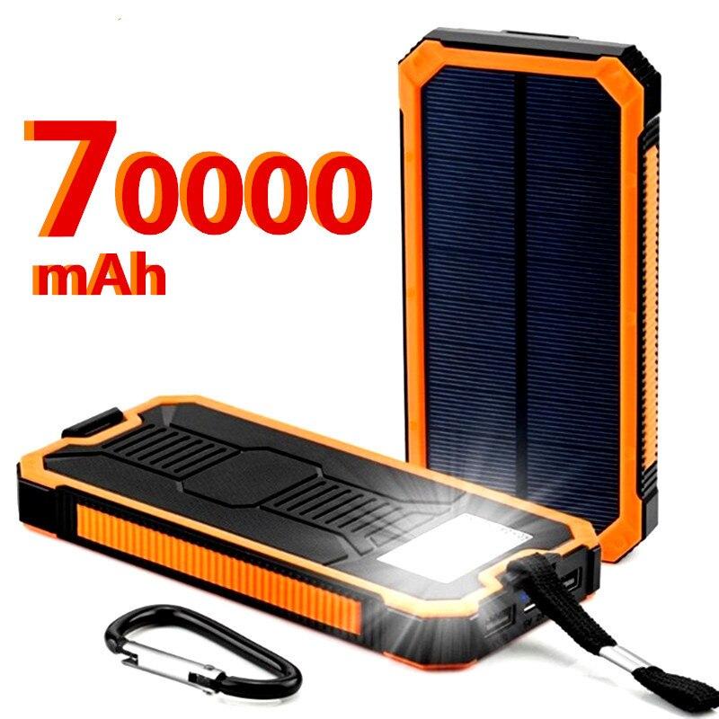 Haute capacity70000mAh banque d'énergie solaire charge rapide Powerbank pratique pour Samsung PD iPhone 11 pro Xiaomi mi