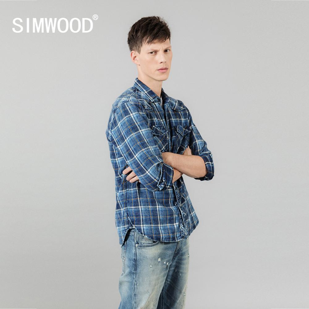 SIMWOOD 2020 Spring New Indigo Shirts Men Double Check Pockets Denim Plaid Shirts Vintage Plus Size High Quality Brand Clothing
