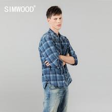 SIMWOOD 2020 bahar yeni Indigo gömlek erkekler çift kontrol cepler Denim ekose gömlek Vintage artı boyutu yüksek kaliteli marka giyim