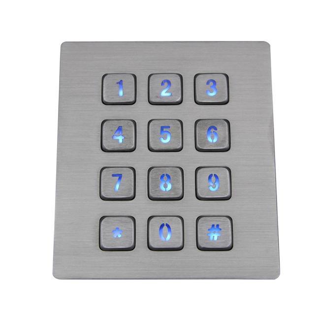12 Keys 3x4 Matrix USB Kiosk illuminated Keypads Metal Stainless Steel Backlit Numeric Keypad For Access Control 1