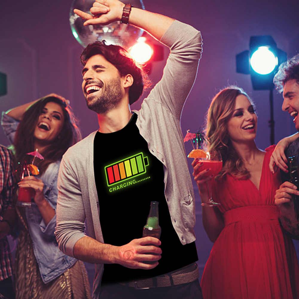 Led เสื้อยืดผู้ชาย Party Rock Disco DJ เสียงเปิดใช้งาน LED T เสื้อ Light Up และ down กระพริบ Equalizer ผู้ชาย TShirt 2019 ขายร้อน