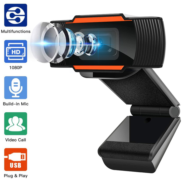 Webcam em 1080P 720P 480P Full HD Web Câmera Built-In Microfone Plugue USB Web Cam Para computador PC Laptop Mac Desktop Skype YouTube pc gamer completo 1