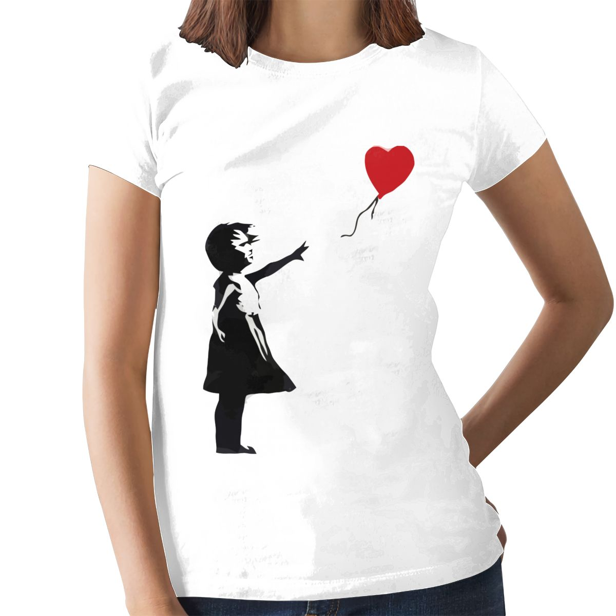 Heart Love T-Shirt Banksy Girl With Balloon T Shirt Trendy Purple Women tshirt Cotton Graphic Ladies Tee Shirt 8