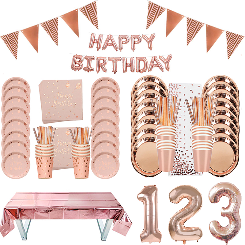Rose Gold Party Disposable Tableware Plate Number Balloon Girl Birthday Party Wedding Decor Adult Celebration Baby Shower Decor