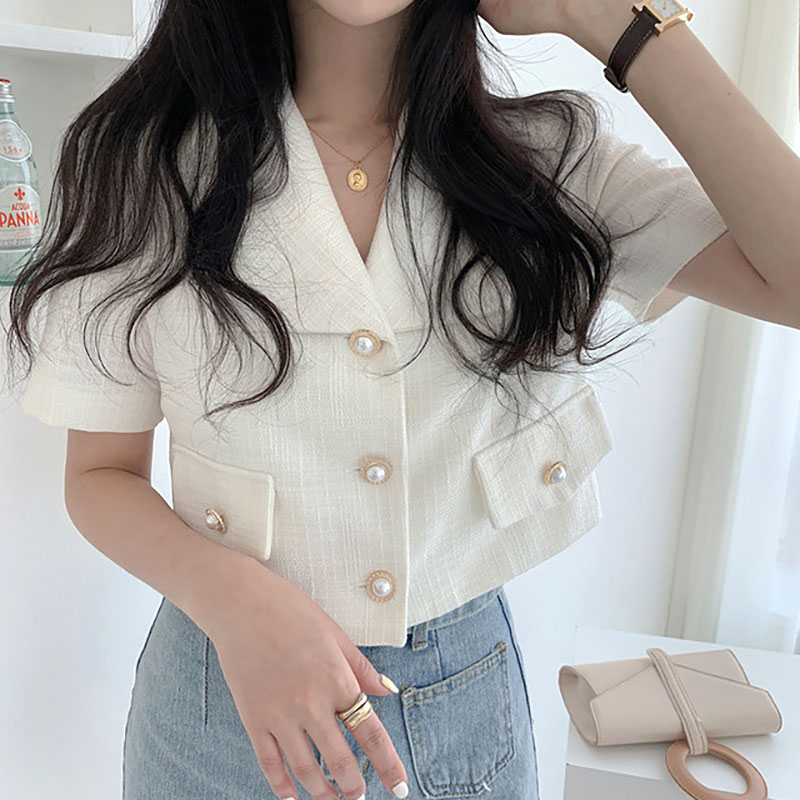 Sannian Korea Summer Retro Small Fragrant Lapel Three Button Short Tops Slim Short Sleeve Suit Coat Women Blazers And Jackets