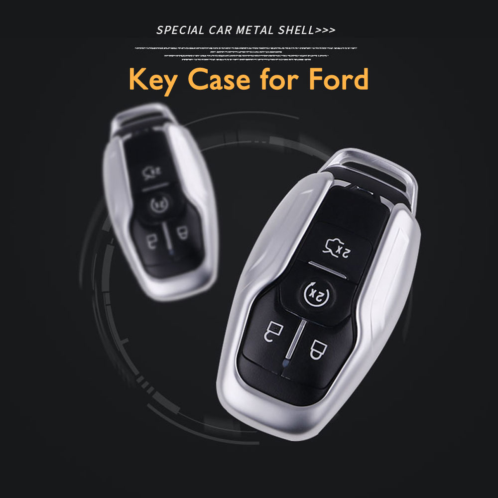 Zinc alloy /& leather Key fob for Ford Taurus Edge Explorer Mustang smart Car Key Remote control Protector Holder with Keyring key case key shell ontto Car Key Cover for Ford