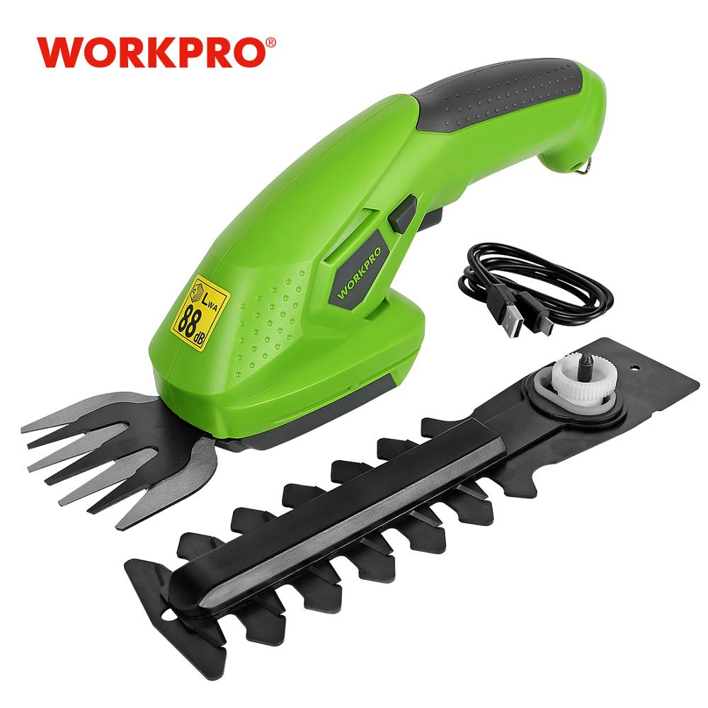 WORKPRO 3 6V Electric Trimmer 2 in 1 Lithium-ion Cordless Garden Tools Hedge Trimmer Rechargeable Hedge Trimmers for Grass
