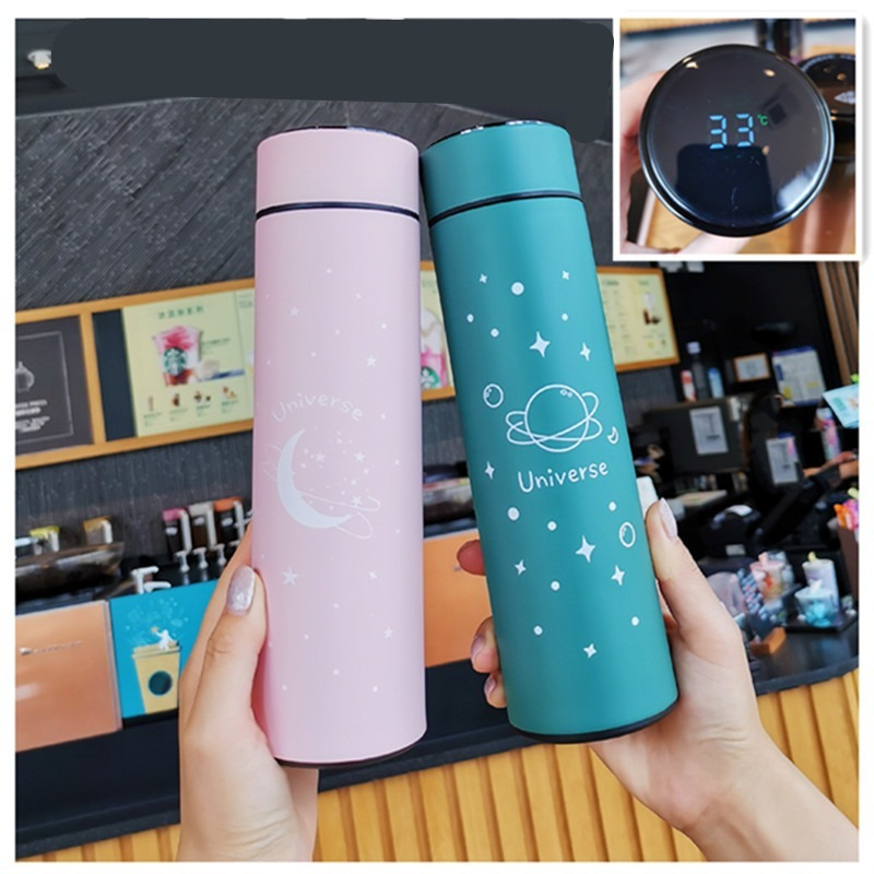 Smart temperature measurement stainless steel vacuum flask Fashion business water cup Straight portable water cup Student cup
