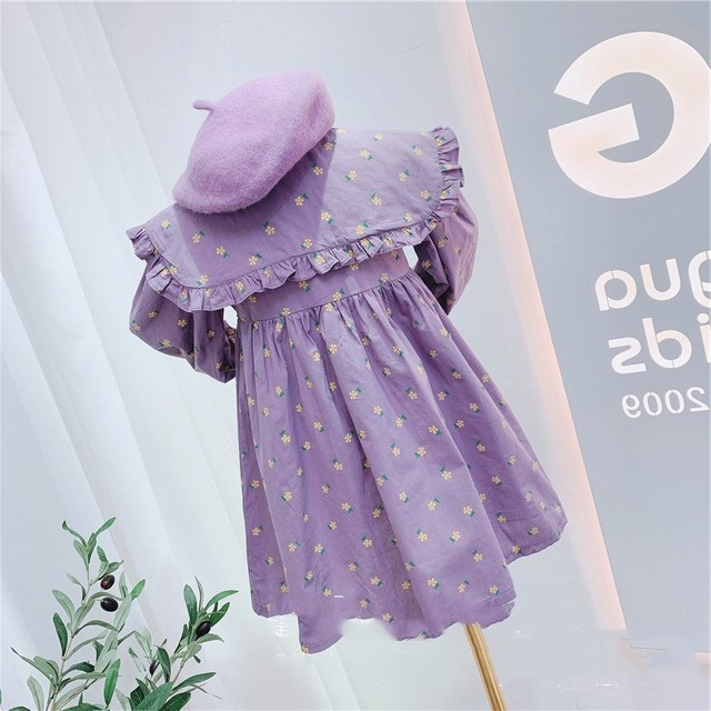 2020 Autumn New Arrival Girls Long Sleeve Princess Dress Kids Cotton Floral Dresses 2