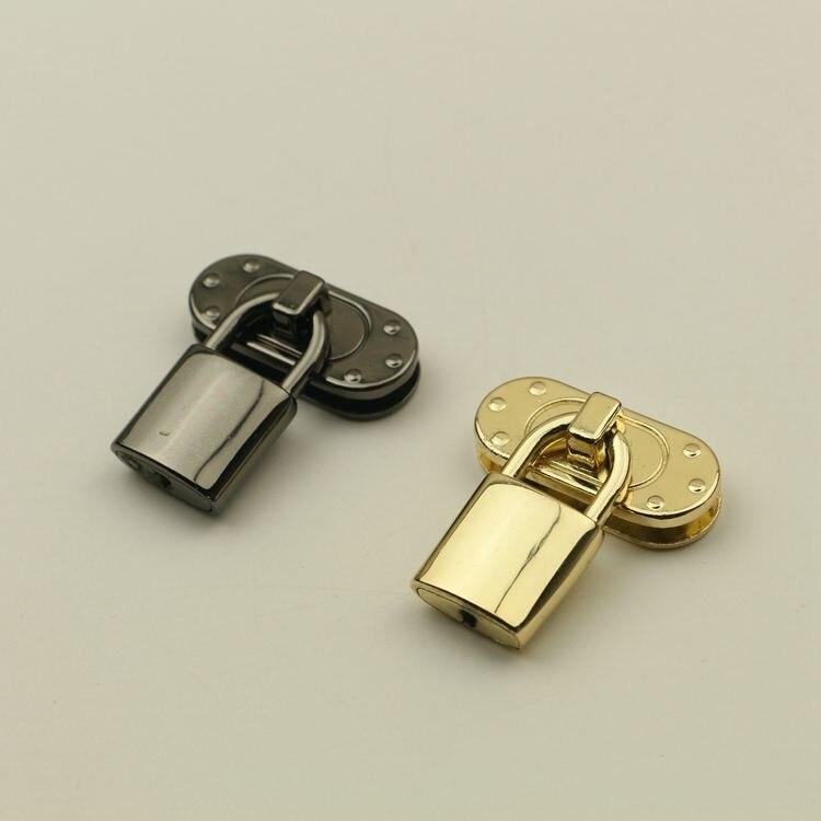 50 pcs par Lot or clair et Gunmetal couleur métal serrure fermoir couverture bagage serrure bricolage accessoires en gros métal sac pièces serrures