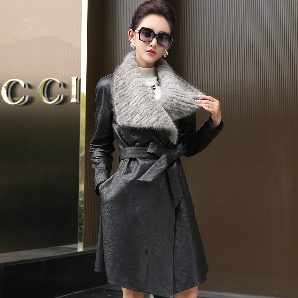 Sheepskin Real 100% Coat Female Mink Fur Collar Long Trench Coats Winter Jacket Women Genuine Leather Jacket MY3726 S