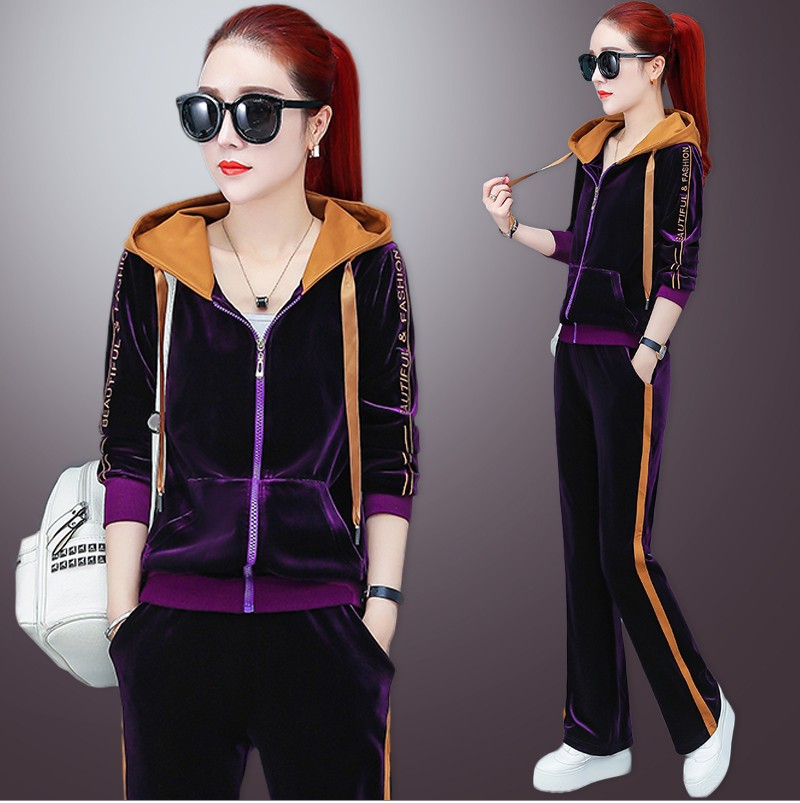 Women Sport Suit Tracksuit Velvet Loose Zip Up Hooded Jacket Sweatshirt pant Casual Jogger Running Workout Outfit Set Sportswear in Running Sets from Sports Entertainment