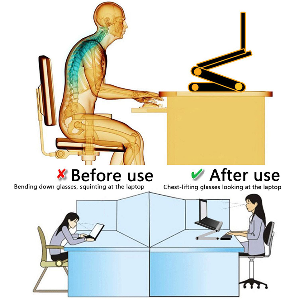 Adjustable Aluminum Laptop Desk Ergonomic Portable TV Bed Lapdesk Tray PC Table Stand Notebook Table Desk Stand With Mouse Pad F