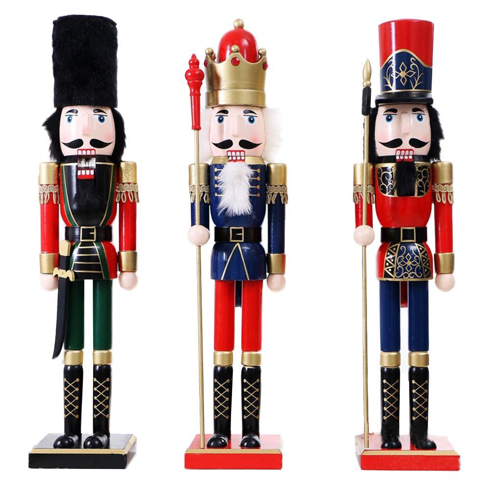60CM en bois casse-noisette poupée soldat roi Figurines miniatures Vintage artisanat marionnette artisanat de noël ornements décoration de la maison