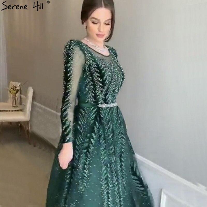 Dubaï luxe Design vin rouge robes de soirée 2019 v-cou manches longues perles paillettes robes de soirée sereine colline LA60903