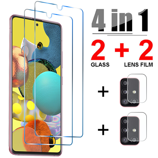 4in1 Tempered Glass for Samsung A52 A32 A72 A42 A12 5G Camera Lens Screen Protector for Samsung A21S A51 A71 A31 A41 A11 Glass 1
