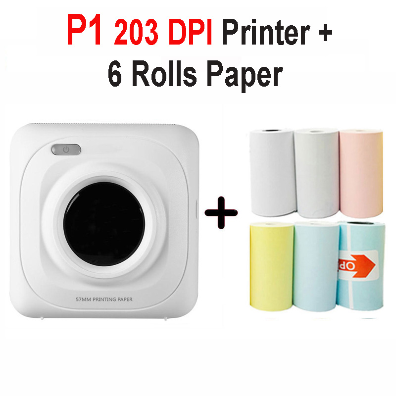 PAPERANG P2 карманный портативный Bluetooth фотопринтер мини 300 dpi термоэтикетка наклейка принтер для мобильного телефона P1 200 dpi - Цвет: P1 6 Pcs Paper