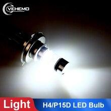 1 шт. мотоцикл H4 P15D 100 Вт светодиодный фонарь для мотоцикла 6000K Hi/Lo луч света автомобиля противотуманная фара тормозной сигнал поворота заднего хода